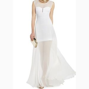 BCBG Sheer White Formal Dress